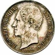 Belgium 1/2 Franc Leopold I 1849 KM# 15 LEOPOLD PREMIER ROI DES BELGES L.WIENER coin obverse