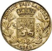 Belgium 1/2 Franc Leopold I 1849 KM# 15 L'UNION FAIT LA FORCE 1/2 F 1849 coin reverse
