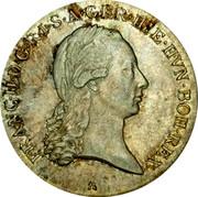 Belgium 1/2 Kronenthaler KM# 61.2 Standart Coinage FRANC II D G R I S A GER HIE HVN BOH REX coin obverse