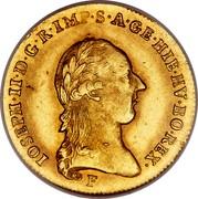 Belgium 1/2 Souverain D'or 1787 F KM# 35 Trade Coinage IOSEPH II D G R IMP S A GE HIE HV BO REX coin obverse