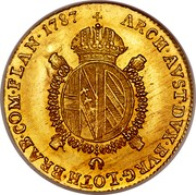 Belgium 1/2 Souverain D'or 1787 F KM# 35 Trade Coinage ARCH AVST DVX BVRG LOTH BRAB COM FLAN 1787 coin reverse