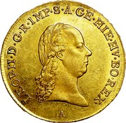Belgium 1/2 Souverain D'or 1791 A KM# 55 Trade Coinage LEOP II D G R IMP S A GE HIE HV BO REX coin obverse