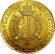 Belgium 1/2 Souverain D'or 1791 A KM# 55 Trade Coinage ARCH AVST DVX BVRG LOTH BRAB COM FLAN 1791 coin reverse