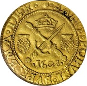 UK 1/2 Sword & Sceptre 1602 KM# 19 Scotland SALVS POPVLI SVPREMA LEX coin reverse