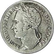 Belgium 1/4 Franc 1844 KM# 8 Decimal Coinage LEOPOLD PREMIER ROI DES BELGES coin obverse