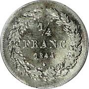 Belgium 1/4 Franc 1844 KM# 8 Decimal Coinage 1/4 FRANC 1844 coin reverse