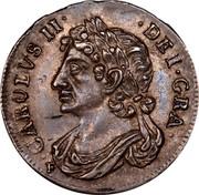 UK 1/4 Merk 1681 KM# 116 Scotland CAROLUS II DEI GRA coin obverse