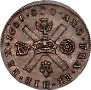 UK 1/4 Merk 1681 KM# 116 Scotland SCO ANG FRA ET HIB REX 1681 coin reverse