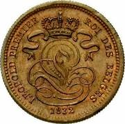 Belgium 1 Centime Leopold I 1832 KM# 1.1 LEOPOLD PREMIER ROI DES BELGES 1832 coin obverse