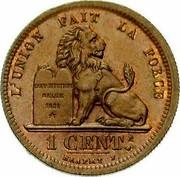 Belgium 1 Centime Leopold I 1832 KM# 1.1 L'UNION FAIT LA FORCE CONSTITUTION BELGE 1831 1 CENT. BRAEMT coin reverse