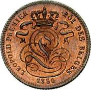 Belgium 1 Centime 1850 KM# 1.2 Decimal Coinage LEOPOLD PREMIER ROI DES BELGES 1850 coin obverse