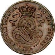 Belgium 1 Centime 1859 KM# 1.3 Decimal Coinage LEOPOLD PREMIER ROI DES BELGES 1859 coin obverse