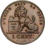 Belgium 1 Centime 1859 KM# 1.3 Decimal Coinage L'UNION FAIT LA FORCE CONSTITUTION BELGE 1831 1 CENT. BRAEMT F. coin reverse