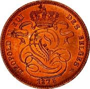 Belgium 1 Centime 1875 KM# 33.1 Decimal Coinage LEOPOLD II ROI DES BELGES 1875 coin obverse