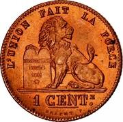 Belgium 1 Centime 1875 KM# 33.1 Decimal Coinage L'UNION FAIT LA FORCE CONSTITUTION BELGE 1831 1 CENTE BRAEMT F. coin reverse