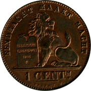 Belgium 1 Centime 1907 KM# 34.1 Decimal Coinage EENDRACHT MAAKT MACHT 1 CENTM. BELGISCHE GRONDWET 1831 BRAEMT F. coin reverse