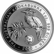Australia 1 Dollar Kookaburra. Privy Mark Great Barrier Reef 2000 KM# 416.12 THE AUSTRALIAN KOOKABURRA 1 OZ 999 SILVER 2000 coin reverse