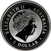 Australia 1 Dollar Kookaburra. Privy Mark November 2000 KM# 416.10 ELIZABETH II AUSTRALIA 1 DOLLAR IRB coin obverse