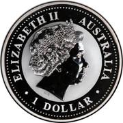 Australia 1 Dollar Kookaburra. Privy Mark October 2000 KM# 416.11 ELIZABETH II AUSTRALIA 1 DOLLAR IRB coin obverse