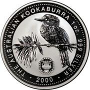 Australia 1 Dollar Kookaburra. Privy Mark October 2000 KM# 416.11 THE AUSTRALIAN KOOKABURRA 1 OZ 999 SILVER 2000 coin reverse
