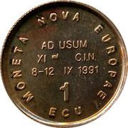 Belgium 1 ECU New Europe 1991 UNC MONETA NOVA EUROPEA 1 ECU AD USUM XI C I N 8-12 IX 1991 coin obverse