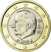 Belgium 1 Euro KM# 301 Country Standart Coinage A II BE 2009 coin obverse