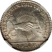 Belgium 1 Florin 1790 (b) KM# 49 Insurrection Coinage ET IPSE DOMINABITVR GENTIVM I FLOR coin reverse