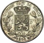 Belgium 1 Franc 1850 KM# 16.1 Decimal Coinage L'UNION FAIT LA FORCE 1 F 1849 coin reverse