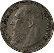 Belgium 1 Franc 1909 KM# 57.2 Decimal Coinage LEOPOLD II KONING DER BELGEN TH VINÇOTTE coin obverse