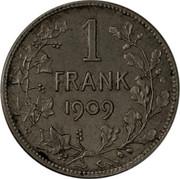 Belgium 1 Franc 1909 KM# 57.2 Decimal Coinage 1 FRANK 1909 coin reverse