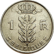 Belgium 1 Franc 1951 KM# 142.1 Decimal Coinage 1 FR BELGIQUE coin reverse