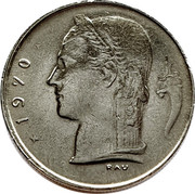 Belgium 1 Franc 1970 KM# 143.2 Decimal Coinage 1970 RAV coin obverse