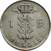 Belgium 1 Franc 1970 KM# 143.2 Decimal Coinage 1 FR BELGIË coin reverse
