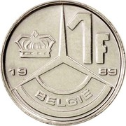 Belgium 1 Franc 1989 KM# 171 Decimal Coinage 1F BELGIË 1989 coin reverse