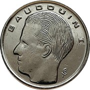 Belgium 1 Franc 1991 KM# 170 Decimal Coinage BAUDOUIN I coin obverse
