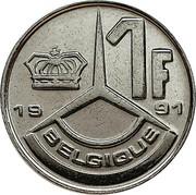 Belgium 1 Franc 1991 KM# 170 Decimal Coinage 1F BELGIQUE 1991 coin reverse