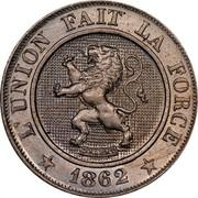 Belgium 10 Centimes 1862 KM# 22 Decimal Coinage L'UNION FAIT LA FORCE BRAEMT 1862 coin obverse