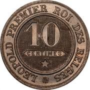 Belgium 10 Centimes 1862 KM# 22 Decimal Coinage LEOPOLD PREMIER ROI DES BELGES 10 CENTIMES coin reverse