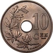 Belgium 10 Centimes 1903 KM# 53 Decimal Coinage 10 CEN A. MICHAUX coin reverse