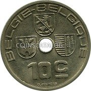 Belgium 10 Centimes 1939 KM# 113.1 Decimal Coinage coin reverse