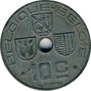 Belgium 10 Centimes 1943 KM# 125 Decimal Coinage BELGIQUE BELGIE 10C O.JESPERS coin obverse