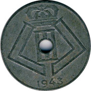 Belgium 10 Centimes 1943 KM# 125 Decimal Coinage 1943 coin reverse