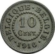 Belgium 10 Centimes KM# 81 Decimal Coinage BELGIQUE BELGIË 10 CENT. 1915 coin reverse