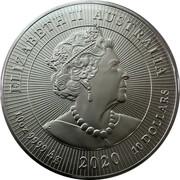 Australia 10 Dollars Kookaburra 2020 ELIZABETH II AUSTRALIA JC 10 OZ 9999 AG 2020 10 DOLLARS coin obverse