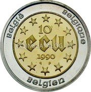 Belgium 10 ECU 1990 (qp) Proof KM# 176 European Currency Units coin reverse