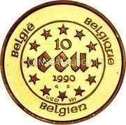 Belgium 10 ECU 1990 (qp) Proof KM# 172 European Currency Units coin reverse