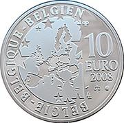 Belgium 10 Euro 100th anniversary of Maurice Maeterlinck's play 2008 Proof KM# 266 BELGIQUE BELGIE BELGIEN 10 EURO 2008 QP coin obverse