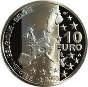 Belgium 10 Euro 100th Anniversary of the Birth of Georges Simenon 2003 Proof KM# 235 10 EURO 2003 BELGIEN BELGIQUE BELGIE coin obverse