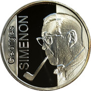 Belgium 10 Euro 100th Anniversary of the Birth of Georges Simenon 2003 Proof KM# 235 GEORGES SIMENON coin reverse