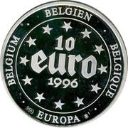 Belgium 10 Euro 1996 Proof Kingdom BELGIEN BELGIQUE EUROPA 999 BELGIUM 10 EURO 1996 coin obverse